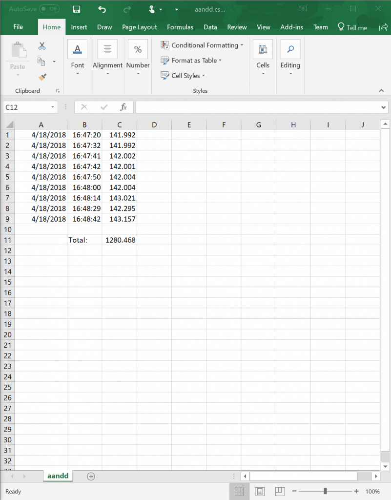 CSV file with weight alues opened in Excel for processing