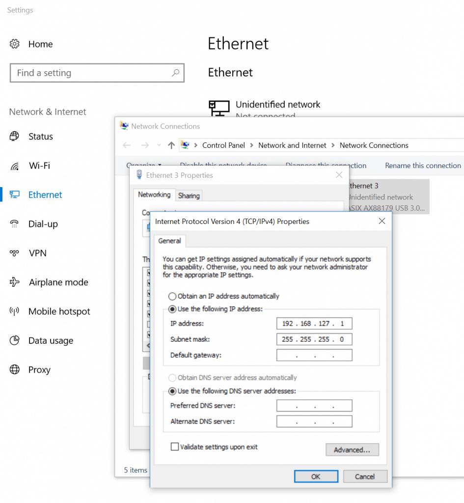 Ethernet IP address setting in Windows 10