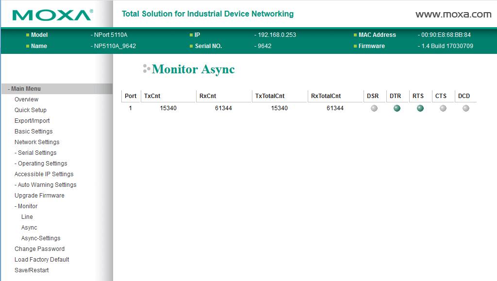 Moxa web console monitor async
