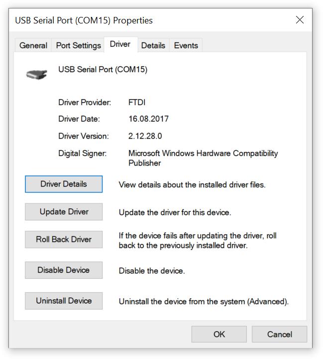 USB Serial port driver properties