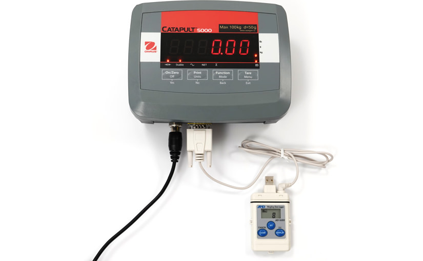 weighing data logger ad-1688 connected to ohaus catapult 5000 scale